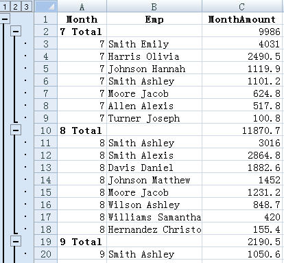 sort data in business spreadsheet software-Excel