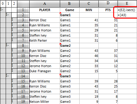 calculate the top 5 players with esCalc, the business spreadsheet software