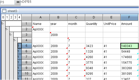 append a column in esCalc, the self-service BI tool