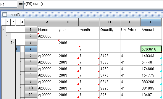 calculate subtotal of monthly sales with self-service BI tool