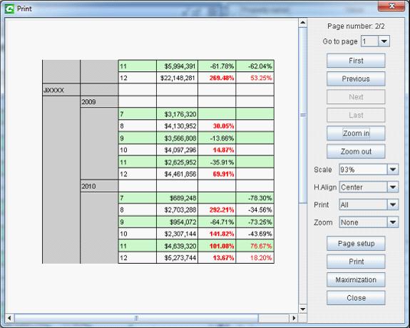 report view in self-service BI software