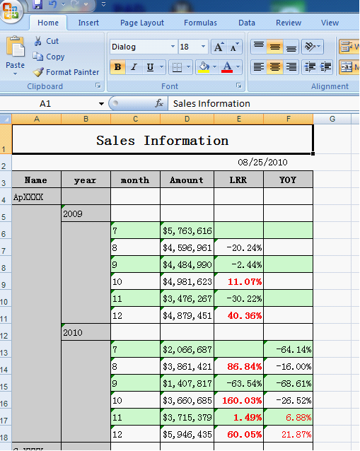 export in Excel, the business spreadsheet software