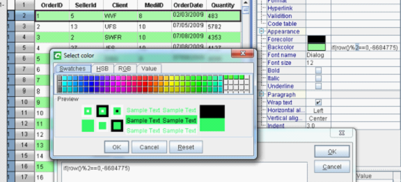 cell property panel of a self-service BI