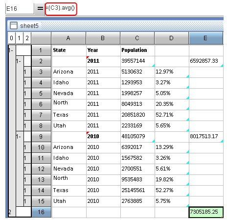 esCalc spreadsheet calculating 8